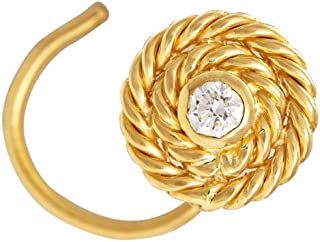 Gehna 22KT Yellow Gold and Diamond Nose Pin for Women