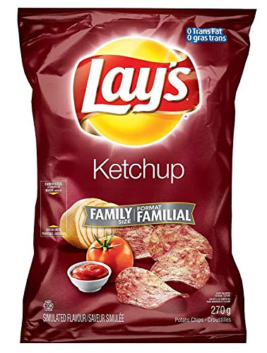 Canadian Lays Ketchup Chips (Imported From Canada) - 1 Family Size Bag