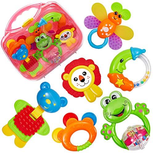 HERSITY Sonagli per Bambini Giocattoli Set Massaggiagengive Neonato Giochi da Afferrare Musicale Dentizione Neonati Baby Rattle Toys Prima Infanzia 3 6 mesi (6 PCS)