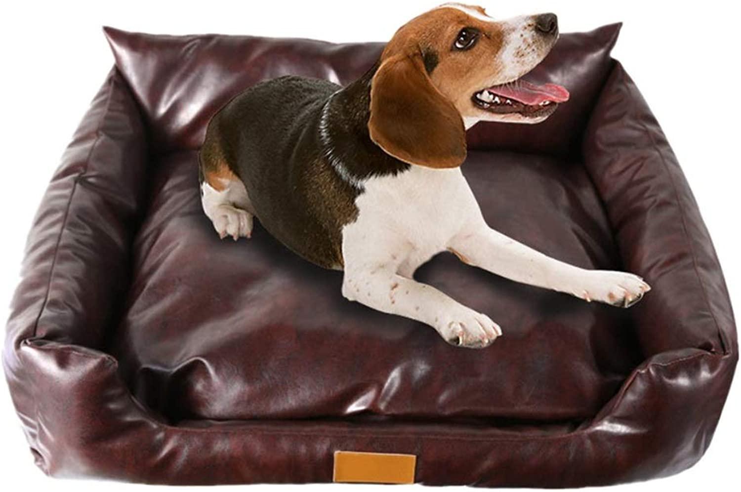 Faux Leather Slumber Pet bed with Removeable Cover Rectangular Sofa Cushion Dog Cat Mat (Brown color) (Size   80  65  26cm)