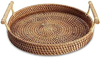 TIM Wicker 28 CM Bread Basket, Handmade Rattan Weaving Fruit Basket Tea Tray Storage Organizer for Kitchen Food Picnic Con...
