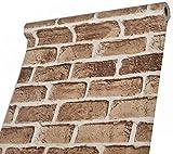 壁紙 シール Harmn home レンガ リメイク シート クロス はがせる のり付き タイル カッティングシート 10mX45cm幅(アンテイークブラウン)(貼り方説明あり)