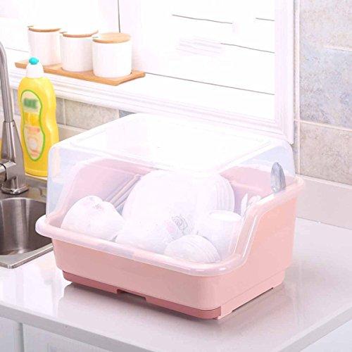 Besteck Box Die Küche Kunststoff Obst Und Gemüse Drain Aufbewahrungsbox Modern Einfache Modische Mit Abdeckung Dish Rack,A
