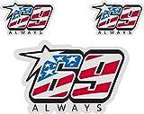 Pegatina Nicky Hayden 69 Always Reflectante Moto Casco (3 Unidades)