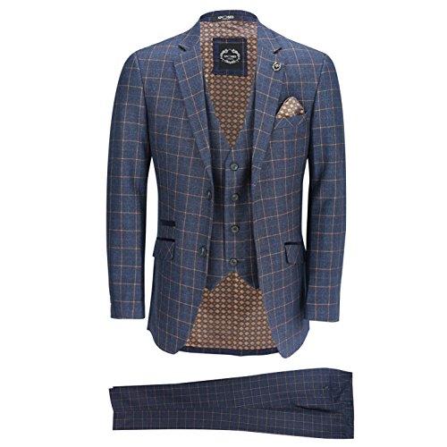 Mens Blue Check 3 Piece Suit [52 UK, 62 EU,SUIT-ROGER-6-BLUE]