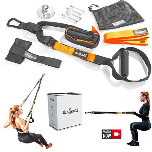slingSports® Schlingentrainer | Sling Trainer | Suspension Trainer Set mit Türanker, Endlosschlaufe | Schlinge und Deckenhalterung inkl. Befestigungsmaterial. Krafttraining für Zuhause und draußen.