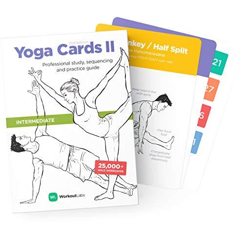 WorkoutLabs Carte di Yoga in plastica con linguaggio sanscrito per Lo Studio visivo Intermedio, Il sequenziamento delle Classi, la Pratica con Posture, Esercizi di respirazione e Meditazione