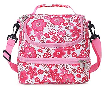MIER 2 Compartment Kids Small Lunch Box Bag for Boys Girls Toddlers Adult Leakproof Cooler Insulated Lunch Tote with Shoulder Strap  Pink Flower