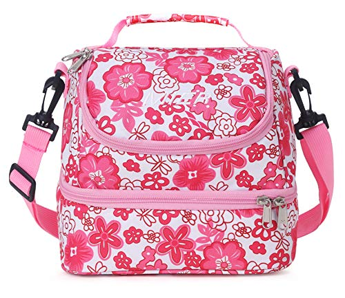 MIER 2 Compartment Kids Small Lunch Box Bag for Boys Girls Toddlers, Adult Leakproof Cooler Insulated Lunch Tote with Shoulder Strap (Pink Flower)