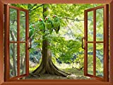 wall26 - Green Parrots Sitting on The Branch Outside an Open Window | Removable Wall Sticker/Wall Mural - 36'x48'