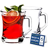 Glass Mugs for Hot Beverages with Handle, 7 ½ Ounce Hot or Cold Drinks, Glass Tea Cup, Turkish Tea Glasses, Set of 6,