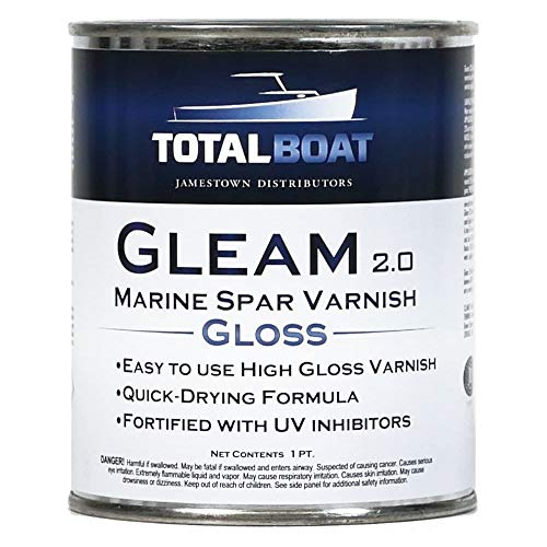 TotalBoatGleam Marine Spar Varnish, Gloss and Satin Polyurethane Finish for Wood, Boats and Outdoor Furniture (Clear Gloss Pint)