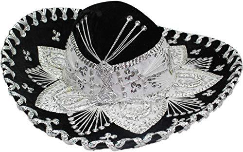 Authentic Mariachi Flowers Style Hat Fancy Premium Mexican, Black, Size Men