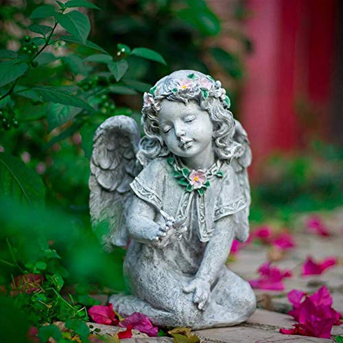 LIUSHI Sitting Angel with Butterfly Garden Ornament Memorial Statue Graveside Pergola Decoration