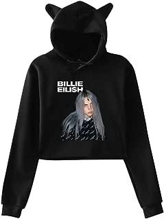 Billie Eilish Girls Hipster Cat Ear Hoodie Sweater Black