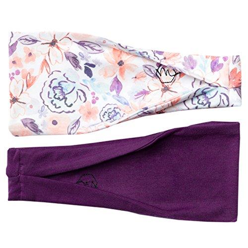 Damen Stirnband Yoga Running Sport Workout Athletic Gym Breit Sweat Wicking Dehnbar Ohne Slip 2Pack Set Pflaume Violett Floral Asana von Maven Gewinde