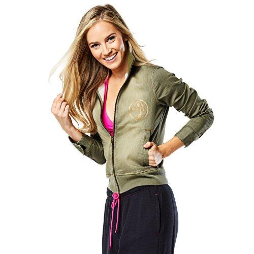 Zumba Fitness World Tour Military Jacket Sudadera, Mujer, Verde, XL