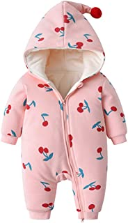 Xifamniy Infant Baby Long Sleeve Romper Cotton Cherry Print Magic Hooded Baby Jumpsuit