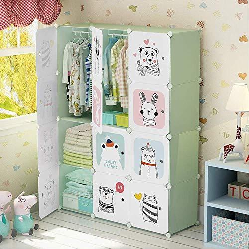 COLiJOL Armario de Tela Plegable Dormitorio de Dibujos Animados Alenamiento con Diseño de Oso Lindo Bebé Niñas Niños (Color: Blanco, Tamaño: 111X37X147Cm),Blanco,el 111X37X147Cm