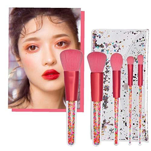 5PCS Rainbow Candy Makeup Brush Set Crystal Handle Brushes With Sequin Bag Blush Foundation Powder Blender Eyeshadow Makeup Brush Prefect Gift For Girls