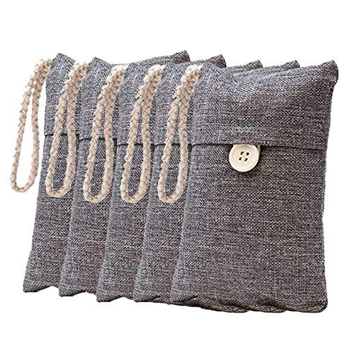 Suading Paquete de 5 bolsas purificadoras de aire de carbón de bambú natural natural purificador de aire fresco bolsas de carbón activado