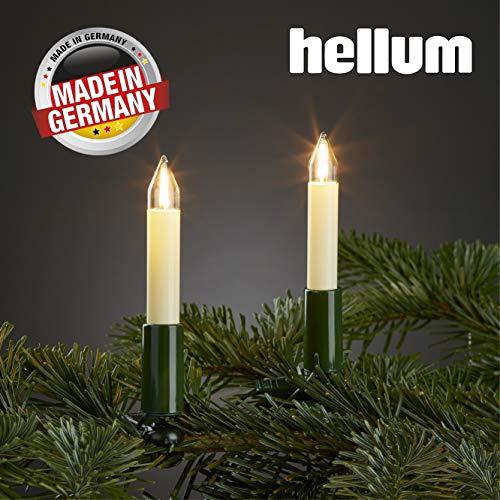 Hellum Lichterkette innen / 15 Filament warm-weiß Schaftkerzen/Länge 9,8 m + 2x1,5 m Zuleitung, schwarzes Gummi-Kabel/Fassungsabstand 70 cm/teilbarer Stecker/Weihnachten / 804157