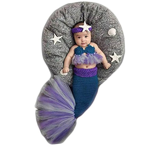 Newborn Monthly Baby Photo Props Outfits Crochet Mermaid for Girls Photography Shoot Blue