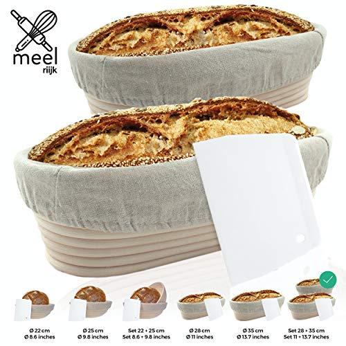 riijk Gärkorb 2er Set + Teigschaber, 2 Gärkörbe für Brot und Brotteig - Peddigrohr (oval, 28 und 35 cm) mit Leineneinsatz, rostfrei geklammert