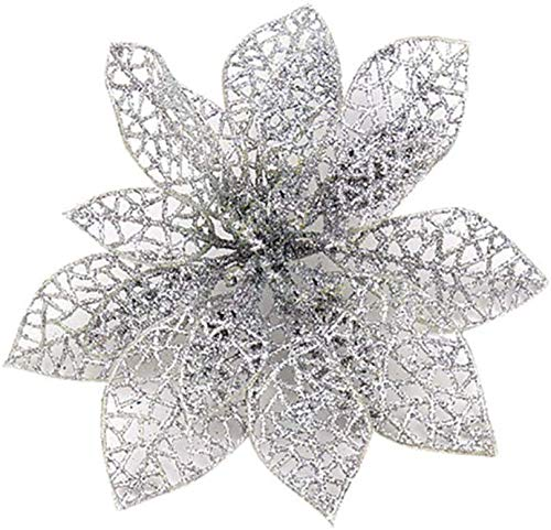 EliteKoopers 3Pcs Silver Glitter Flowers Garland Poinsettia For Christmas Decorations
