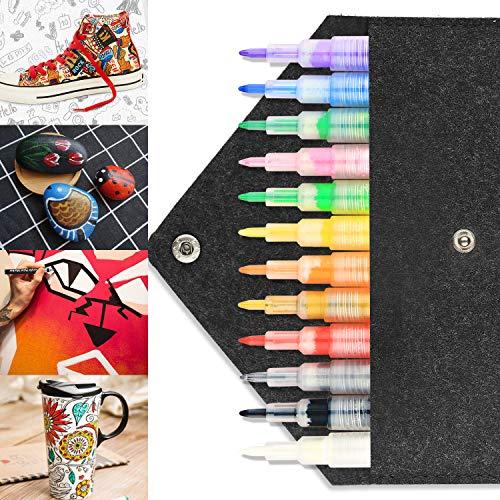 Acrylstifte Marker Stifte, RAGZAN 12 Farben Acrylfarben Permanent Marker Stift Wasserfeste Schnelltrocknend Steine Stifte von mit Exquisitem Fühlte Mäppchen für Felsmalerei, Glas, Holz, DIY Geschenk