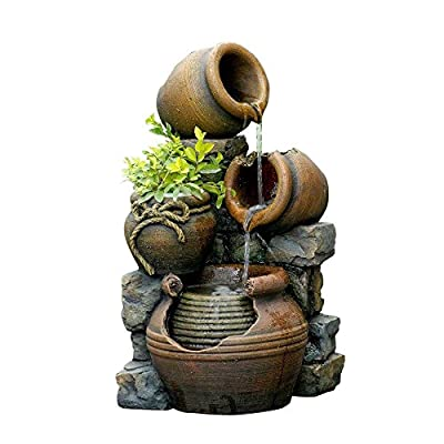 Jeco FCL055 Multi Pots Outdoor Water Fountain with Flower Pot, 12.6L x 13.4W x 23.6H, Multicolor