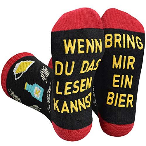 Voqeen Lustige Socken Bier Socken Wenn Du Das Lesen Kannst, Bring Mir Ein Bier Winter Sockenbier geschenke für männer Baumwolle Strümpfe Party Socken für Männer Frauen Weihnachtssocken