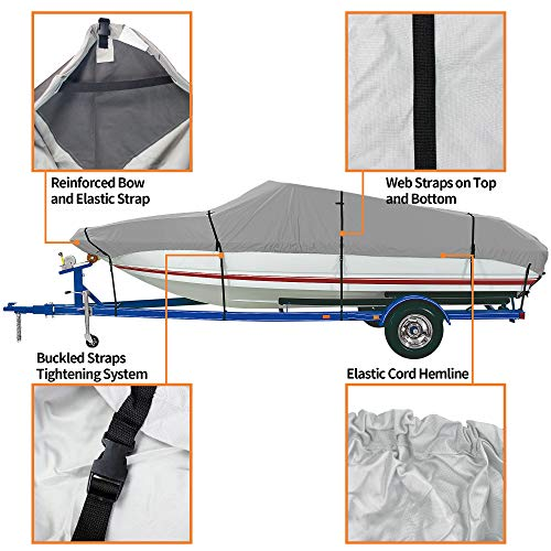 "iCOVER Trailerable Boat Cover- Water Proof Heavy Duty,Fits V-Hull,Fish&Ski,Pro-Style,Fishing Boat,Runabout,Bass Boat,up to 16ft-17ft Long and 94""Wide,Grey Color,B6301C-1."