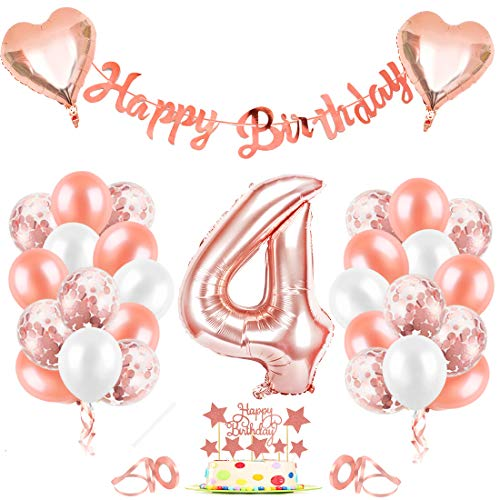 4er Cumpleaños Globos, Decoración de cumpleaños 4 en Oro Rosa, Cumpleaños 4 Año Globos Niñas, Feliz Cumpleaños Decoración Globos 4 Años, Globos de Confeti y Globos de Aluminio para niñas y Mujeres