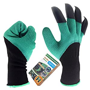 Inf-way Right&Left Handed Garden Genie Gloves with Fingertips Uniex Right Claws