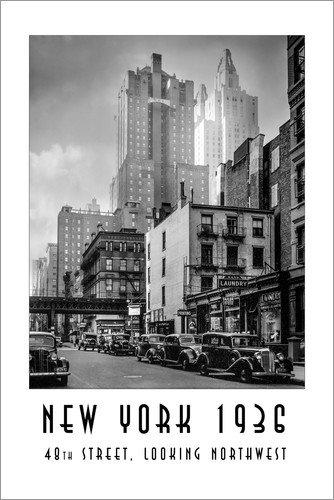 Posterlounge Acrylglasbild 60 x 90 cm: Historisches New York: Manhattan, 48th Street, Looking Northwest von Christian Müringer - Wandbild, Acryl Glasbild, Druck auf Acryl Glas Bild