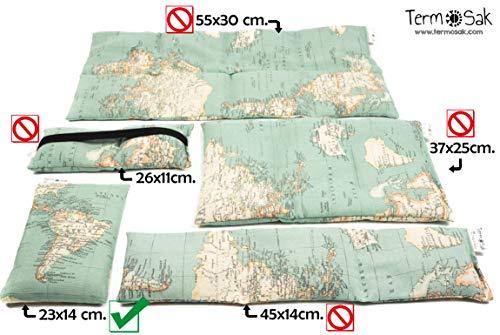 TERMOSAK Saco térmico de semillas 23x14 cm + funda, cojín térmico calor/frío de semillas alta duración y lavanda con funda lavable de misma tela (23x14 + funda, Verde)