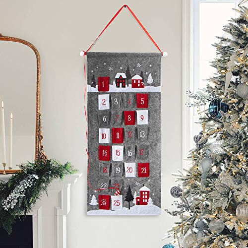 S-DEAL Gray Christmas Advent Calendar 2021 Countdown to Christmas Cloth Wall Hanging with 25 Pockets for Xmas Holiday Decorations 14x31 Inch
