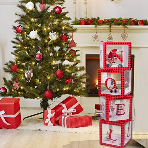 Christmas Decorations Red Black Plaid Noel Box,Large Transparent Noel Blocks Decorations for Fireplace Christmas Tree Decorations Home Decor Holiday Party Decorations