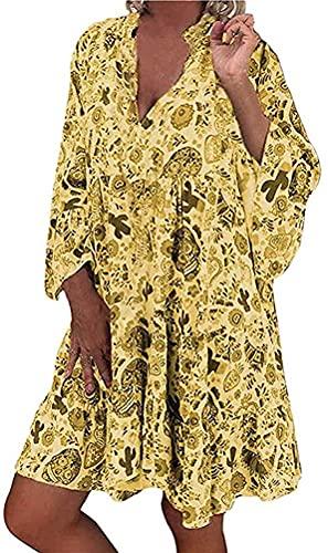 Yesgirl Vestidos Casual para Mujer Mini Vestido De Manga Larga Bohemio con Cuello En V Suelta Casual T-Shirt Blusa Suelta Vestidos Florales Chic De Noche Playa Vacaciones Top A Amarillo XXL