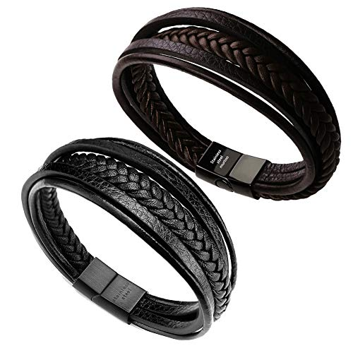 murtoo Mens Leather Bracelet with...