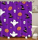 Britimes Duschvorhang Happy Halloween Abstrakt Party Album Herbst Schwarz Karneval Wasserdicht Polyester Stoff Badezimmer Dekor Bad 72 x 78 Zoll Set mit Haken