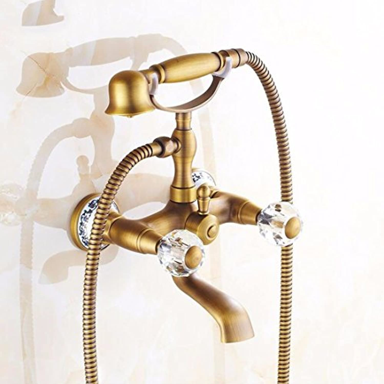 Gyps Faucet Waschtisch-Einhebelmischer Waschtischarmatur BadarmaturDie Gold-Kupfer Antik Badewanne Armatur Dusche Wasserhahn mit Dem Wasser Kann Gedreht Werden, Ohne zu verblassen B,Mischbatterie W