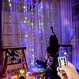 Swonuk Luz Cadena Colorida, 300 LED Luz de Cortina USB Luces de Navidad con 8 Modos de Parpadeo y Temporizador para Decoración Ventana,Iinteriores, Navidad, Fiestas,3 * 3m
