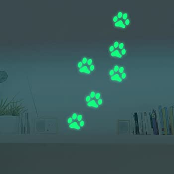 Marsway Cute Paw Print Night Luminous Removable Kids Room Wall Decal Glow in The Dark Decorative Sticker