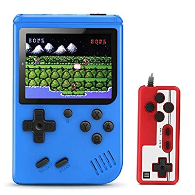 """Plump Tiger Hand-held Game Console, Retro Video Games Player with 520 Classical Games 3 """"Color Screen Support for Two Players Connecting TV Rechargeable Battery for Kids & Adult -Xmas Gift (Blue) by Plump Tiger"""