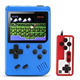 "Plump Tiger Hand-held Game Console, Retro Video Games Player with 520 Classical Games 3 ""Color Screen Support for Two Players Connecting TV Rechargeable Battery for Kids & Adult -Xmas Gift (Blue)"