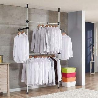 GOTOTO Garde-Robe Télescopique pour Vêtements Systèmes Barres de Penderie Porte-Vêtements avec Crochets, Hauteur et Largeu...