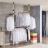 Gototop - Perchero de 2 barras y 2 barras para colgar ropa y ropa, 281 a 329 cm