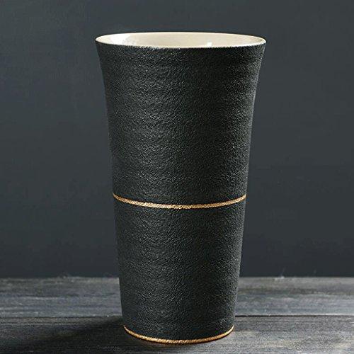 2 PCS Matte Modèles Tasse Céramique Boisson Tasse Handy Tasse Eau Tasse Café Tasse Lait Tasse Petit Déjeuner Tasse Coupe Couples Tasse Bureau Chambre Maison Noir UOMUN (Size : 330ml)
